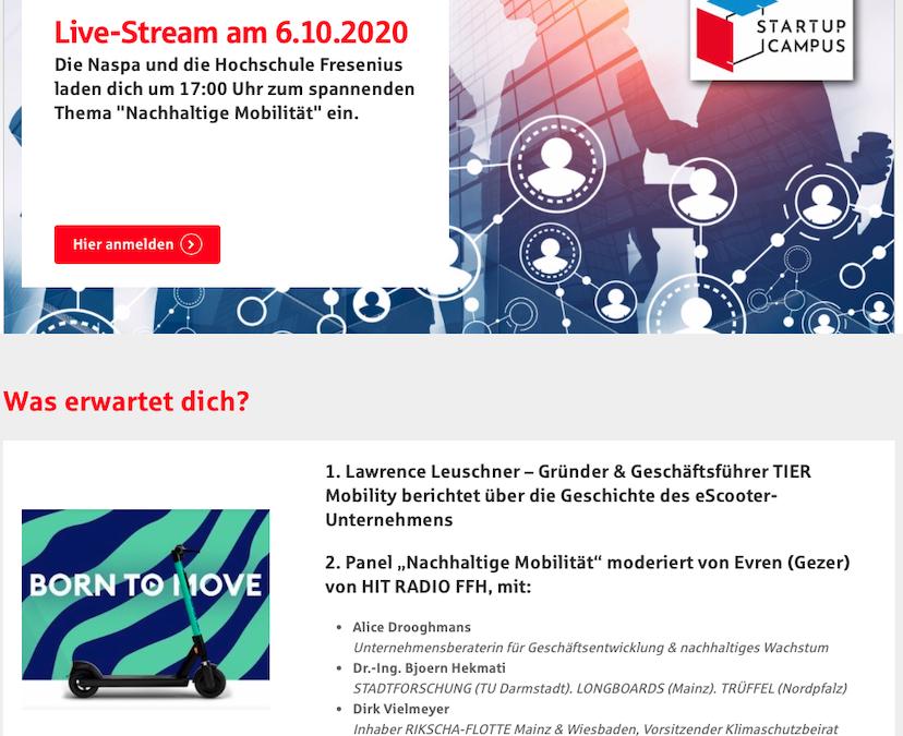 """Virtueller StartUp Campus """"Nachhaltige Mobilität"""""""