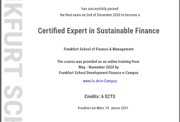"""Alice Drooghmans became  """"Certified Expert in Sustainable Finance"""""""