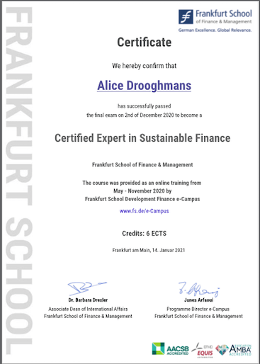 "Alice Drooghmans became  ""Certified Expert in Sustainable Finance"""
